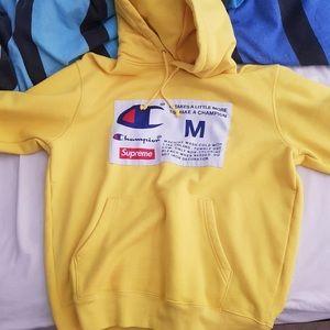 Supreme x Champion yellow hoodie